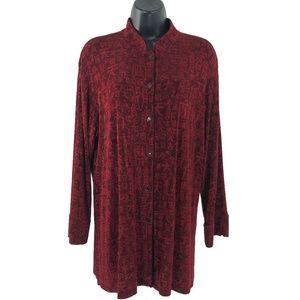 Chico's Travelers Shirt Top Slinky Red Chinese
